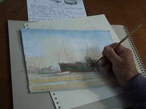 A member of the Art Group at work